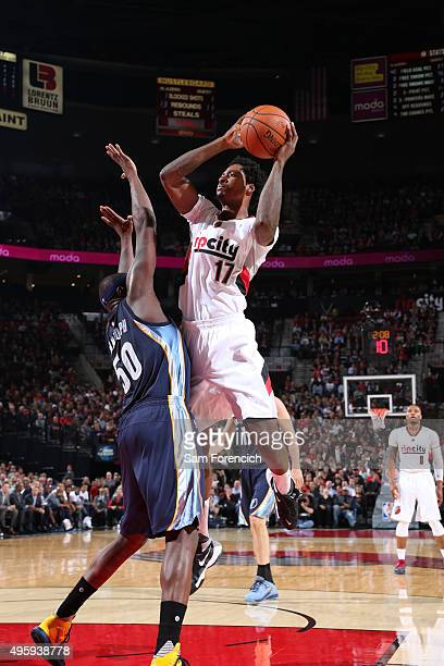 Ed Davis of the Portland Trail Blazers shoots the ball against the Memphis Grizzlies on November 5 2015 at the Moda Center in Portland Oregon NOTE TO...