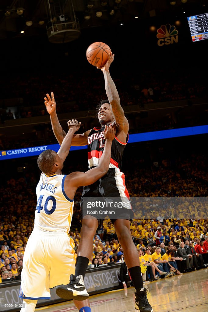 Ed Davis #17 of the Portland Trail Blazers shoots the ball during the game against Harrison Barnes #40 of the Golden State Warriors in Game One of the Western Conference Semifinals during the 2016 NBA Playoffs on May 1, 2016 at ORACLE Arena in Oakland, California.