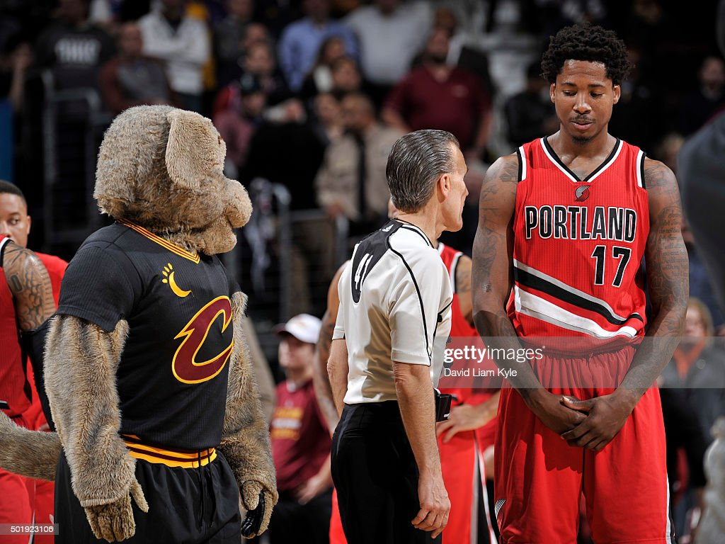 Ed Davis #17 Of The Portland Trail Blazers Talks With Referee Ken Mauer #41 During The Game ...