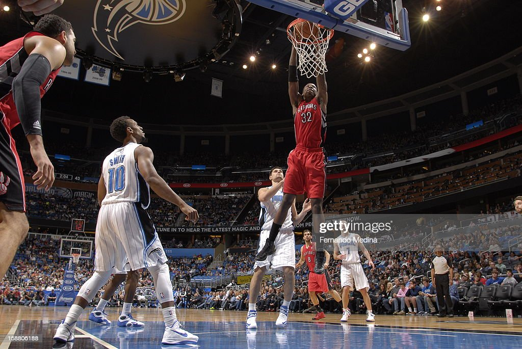 Ed Davis #32 of the Toronto Raptors dunks the ball against the Orlando Magic during the game on December 29, 2012 at Amway Center in Orlando, Florida.