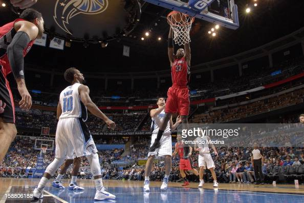 Ed Davis of the Toronto Raptors dunks the ball against the Orlando Magic during the game on December 29 2012 at Amway Center in Orlando Florida NOTE...