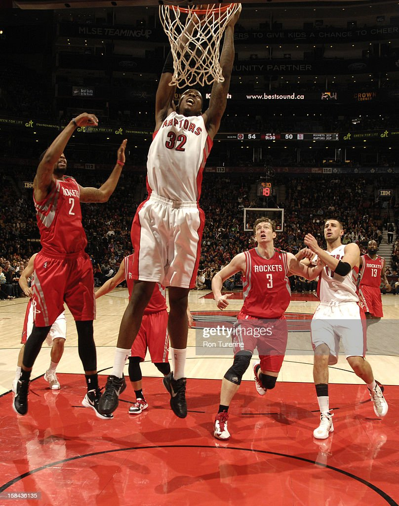Ed Davis #32 of the Toronto Raptors goes to the basket during the game between the Toronto Raptors and the Houston Rockets December 16, 2012 at the Air Canada Centre in Toronto, Ontario, Canada.