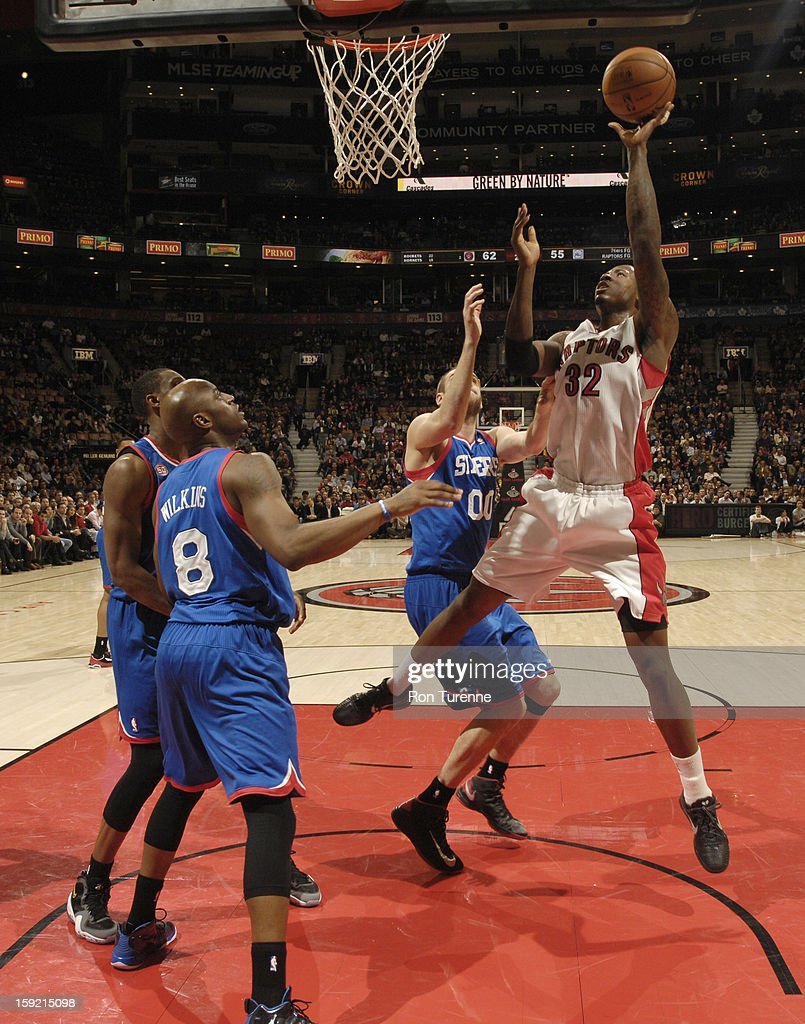 Ed Davis #32 of the Toronto Raptors goes up for the layup in traffic against the Philadelphia 76ers during the game on January 9, 2013 at the Air Canada Centre in Toronto, Ontario, Canada.