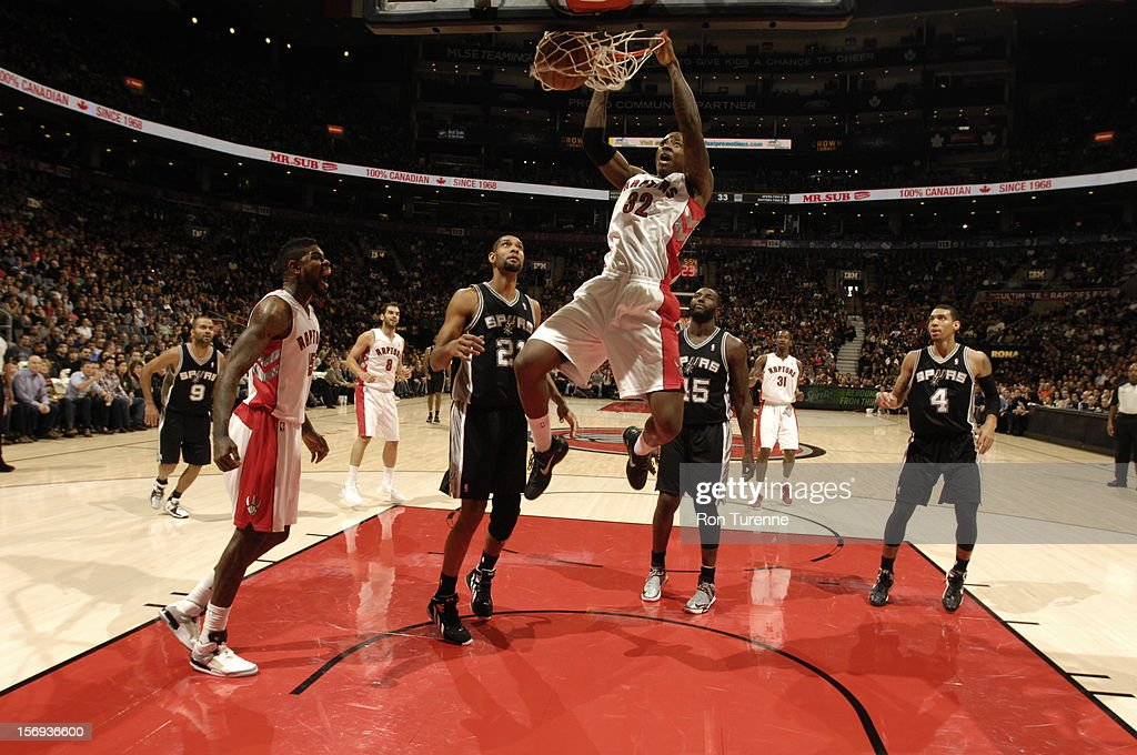 Ed Davis #32 of the Toronto Raptors goes up for the monster dunk vs the San Antonio Spurs during the game on November 25, 2012 at the Air Canada Centre in Toronto, Ontario, Canada.