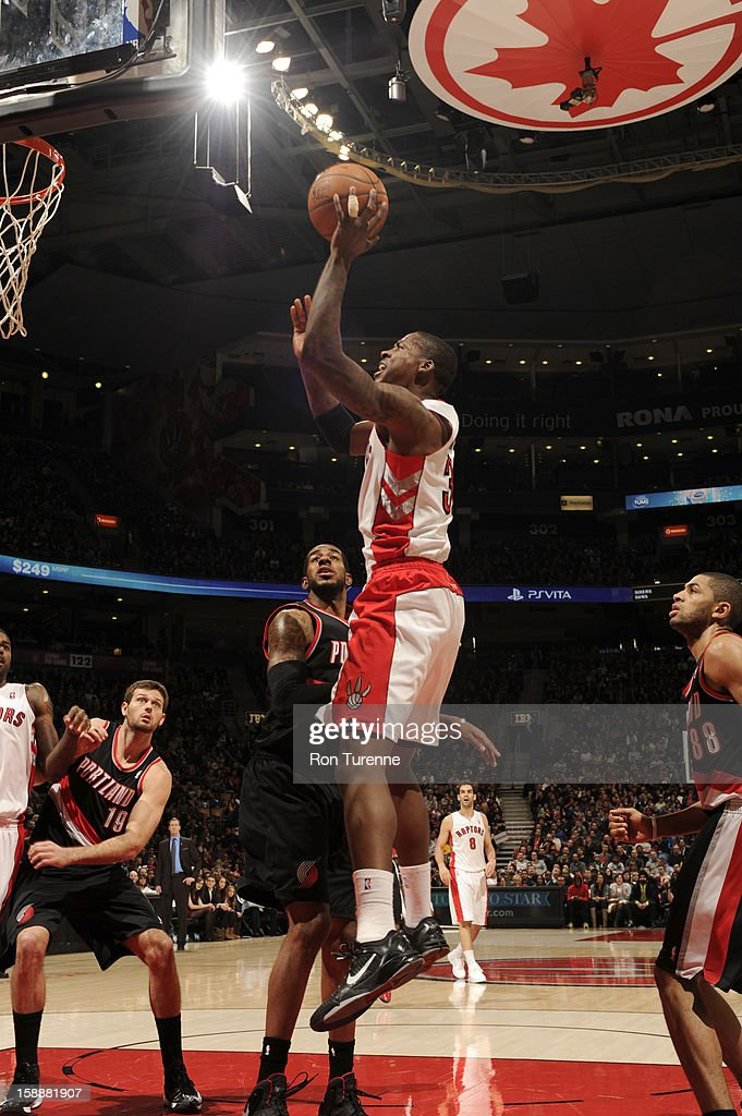 Ed Davis #32 of the Toronto Raptors goes up for the short jumpshot against the Portland Trail Blazers during the game on January 2, 2013 at the Air Canada Centre in Toronto, Ontario, Canada.