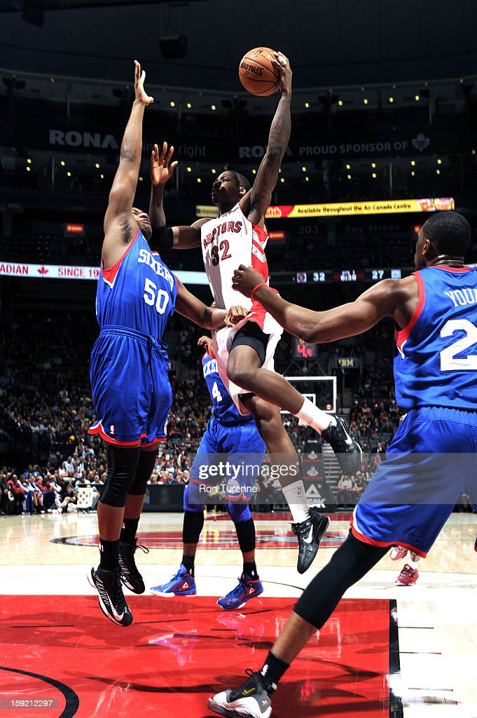 Ed Davis #32 of the Toronto Raptors goes up for the shot against the Philadelphia 76ers game on January 9, 2013 at the Air Canada Centre in Toronto, Ontario, Canada.