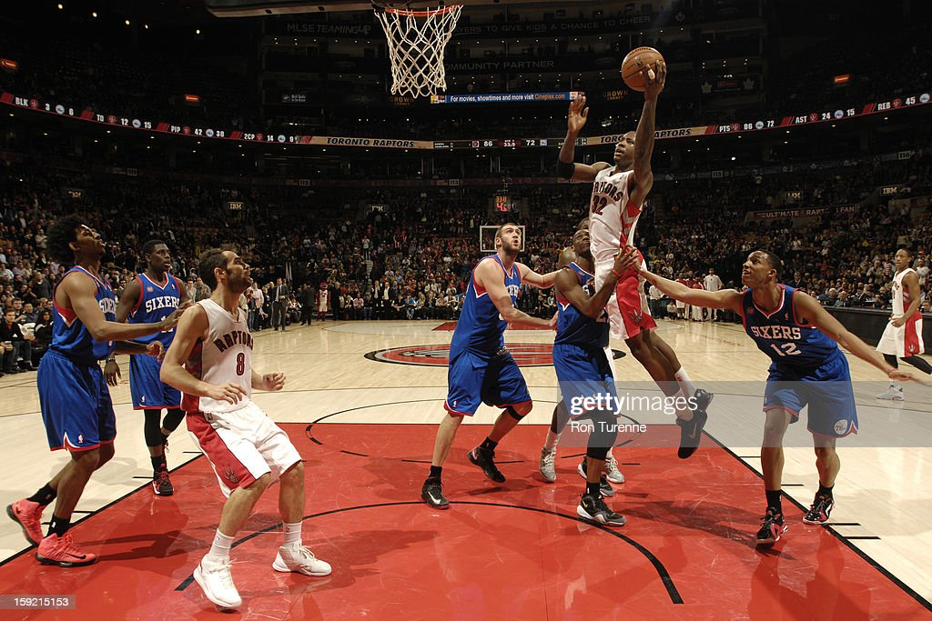 Ed Davis #32 of the Toronto Raptors goes up for the shot against the Philadelphia 76ers during the game on January 9, 2013 at the Air Canada Centre in Toronto, Ontario, Canada.