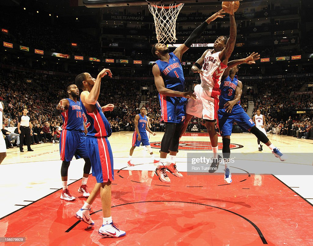 Ed Davis #32 of the Toronto Raptors goes up for the shot while <a gi-track='captionPersonalityLinkClicked' href=/galleries/search?phrase=Andre+Drummond&family=editorial&specificpeople=7122456 ng-click='$event.stopPropagation()'>Andre Drummond</a> #1 of Detroit Pistons attempts to block the shot during the game on December 19, 2012 at the Air Canada Centre in Toronto, Ontario, Canada.
