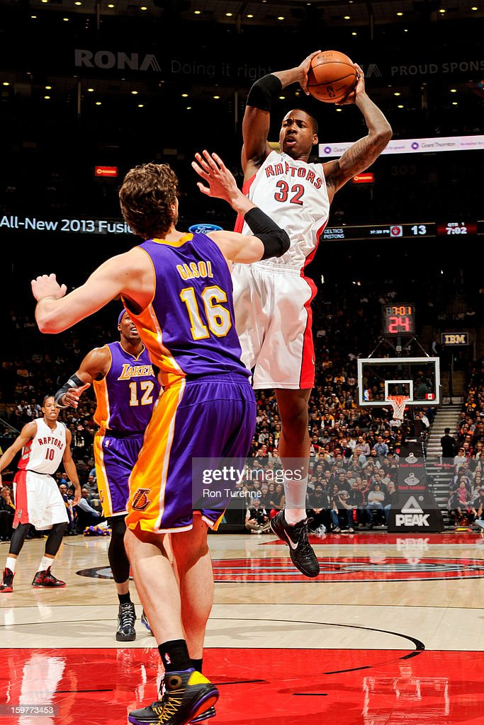 Ed Davis #32 of the Toronto Raptors shoots in the lane against Pau Gasol #16 of the Los Angeles Lakers on January 20, 2013 at the Air Canada Centre in Toronto, Ontario, Canada.