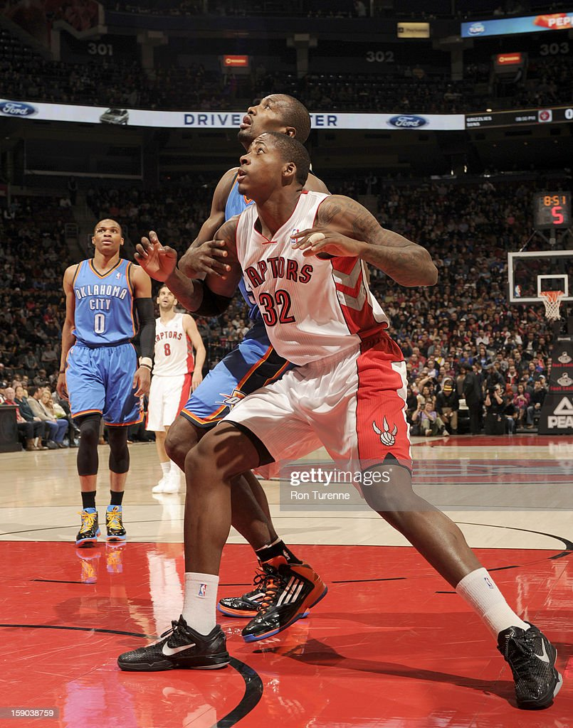 Ed Davis #32 of the Toronto Raptors waits for a rebound during the game between the Toronto Raptors and the Oklahoma City Thunder on January 6, 2013 at the Air Canada Centre in Toronto, Ontario, Canada.