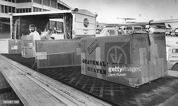 GUATEMALA Ed Delgado with beard supervises the loading of relief supplies onto a Mexican Airlines plane at Stapleton International Airport to be...