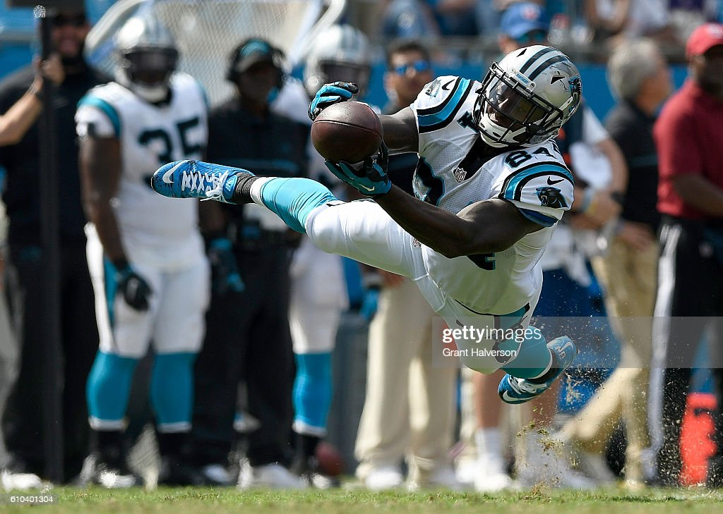 Ed Dickson #84 of the Carolina Panthers dives for a catch against the Minnesota Vikings in the 3rd quarter during the game at Bank of America Stadium on September 25, 2016 in Charlotte, North Carolina.