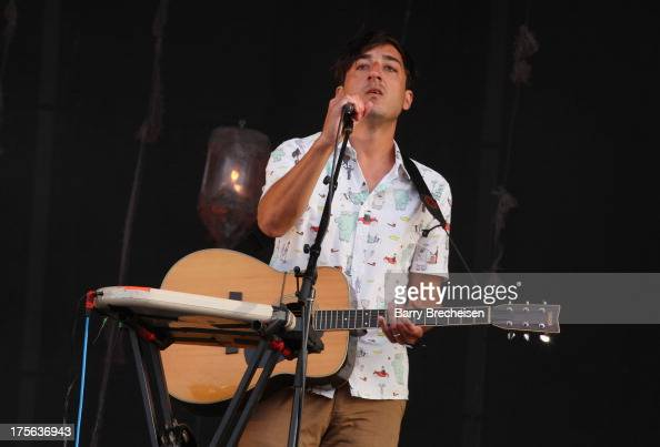 Ed Droste of Grizzly Bear performs during Lollapalooza 2013 at Grant Park on August 4 2013 in Chicago Illinois