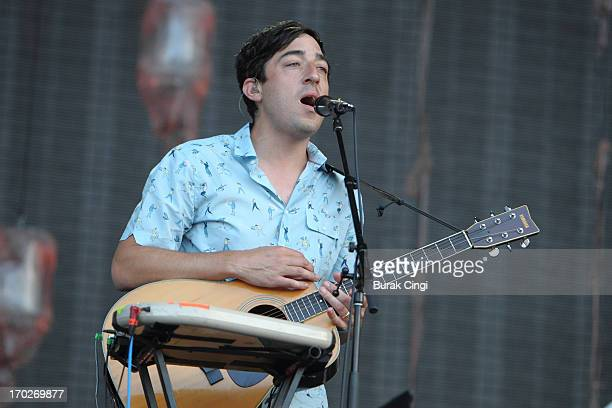 Ed Droste of Grizzly Bear performs on stage on Day 3 of The Governors Ball Music Festival at Randall's Island on June 9 2013 in New York City