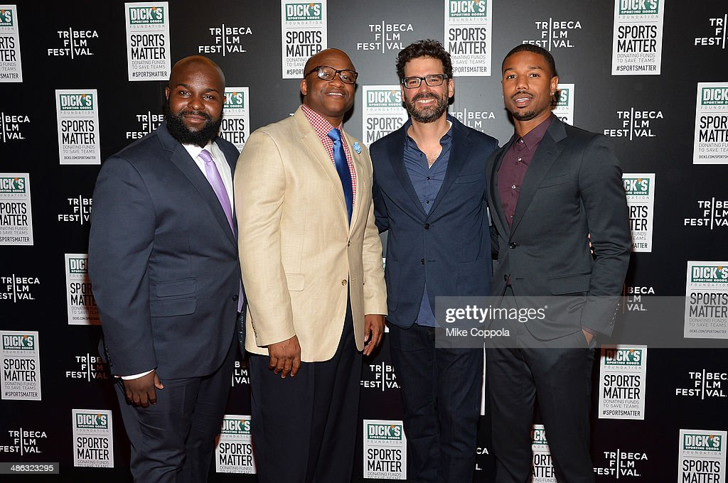 Ed Dunn, William Wade, Judd Ehrlich and <a gi-track='captionPersonalityLinkClicked' href=/galleries/search?phrase=Michael+B.+Jordan+-+Actor&family=editorial&specificpeople=608313 ng-click='$event.stopPropagation()'>Michael B. Jordan</a> attends the Dick's Sporting Goods 'We Could Be King' Premiere during the 2014 Tribeca Film Festival at Sunshine Landmark on April 23, 2014 in New York City.