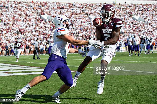 Ed Eagan of the Northwestern State Demons has a pass knocked away in the end zone by Tolando Cleveland of the Mississippi State Bulldogs at Davis...