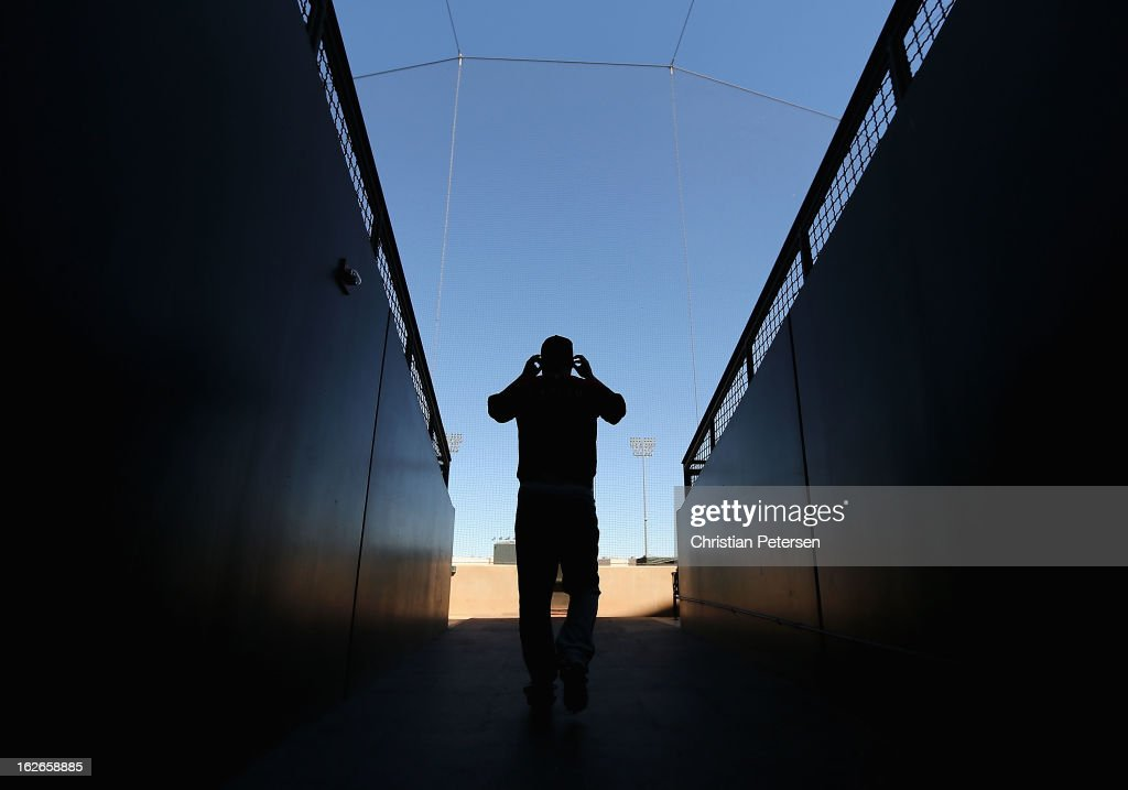 Ed Easley of the Arizona Diamondbacks walks out to the field before the spring training game against the Kansas City Royals at Surprise Stadium on...