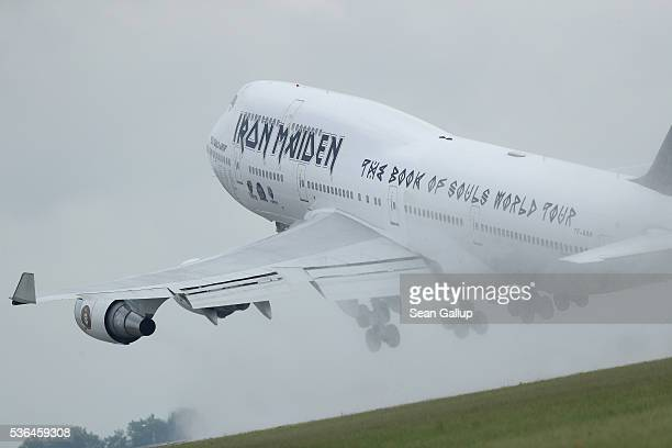 Ed Force One the Boeing 747 passenger plane of British heavy metal rockers Iron Maiden takes off while piloted by band singer Bruce Dickinson from...