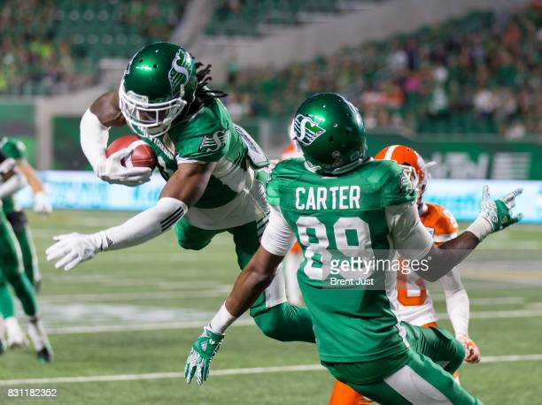 Ed Gainey of the Saskatchewan Roughriders makes his fourth interception of the game in the game between the BC Lions and the Saskatchewan Roughriders...