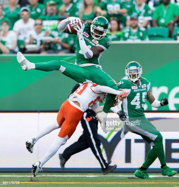 Ed Gainey of the Saskatchewan Roughriders makes his third interception of the first half in the game between the BC Lions and the Saskatchewan...