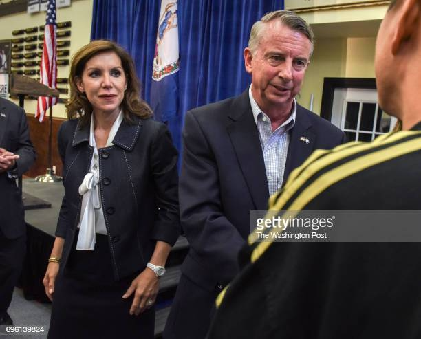 Ed Gillespie running for Governor right and his running mate Jill Vogel left greet supporters as winners of yesterday's Republican primary election...