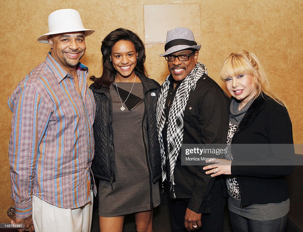 Ed Gordon, Taylor Gordon, Charlie Wilson and Mahin Wilson backstage at the Fox Theatre on April 8, 2012 in Detroit, Michigan.