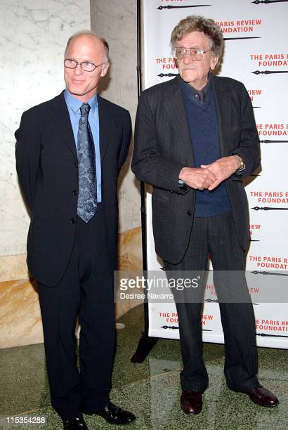 Ed Harris and Kurt Vonnegut during The Paris Review Foundation Presents Fall Revel Honoring William Styron at Cipriani in New York City New York...
