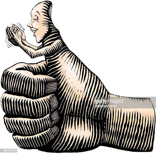 Ed Hashey color illustration of a hand giving the 'thumbs up' sign personified thumb is clapping