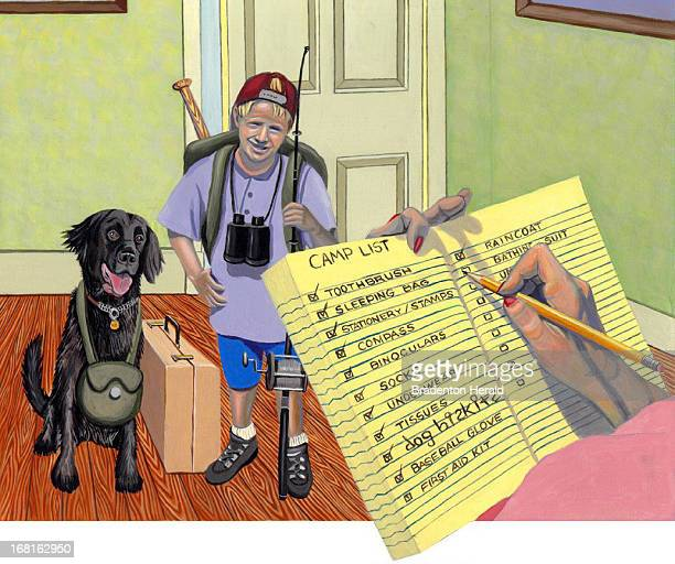 Ed Hashey color illustration of boy dog getting ready to leave for summer camp while mom checks things off on checklist