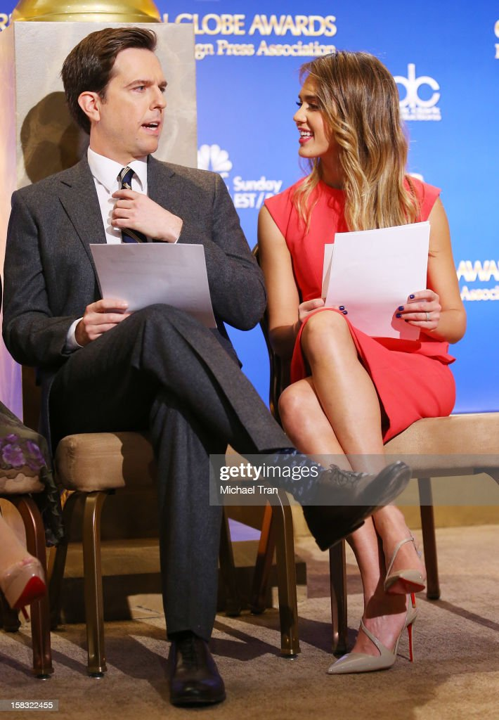 Ed Helms (L) and Jessica Alba attend the 70th Annual Golden Globe Awards nominations announcement held at The Beverly Hilton on December 13, 2012 in Los Angeles, California.