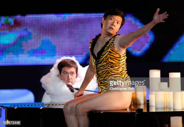 Ed Helms and Ken Jeong perform onstage at the 2010 MTV Movie Awards held at the Gibson Amphitheatre at Universal Studios on June 6 2010 in Universal...