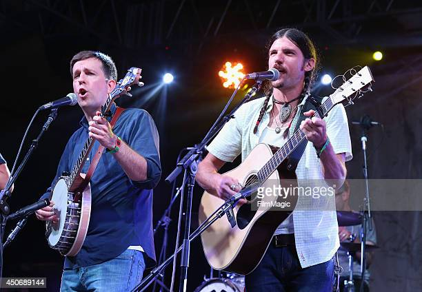 Ed Helms and Seth Avett of The Avett Brothers perform onstage with The Bluegrass Situation Superjam at That Tent during day 4 of the 2014 Bonnaroo...
