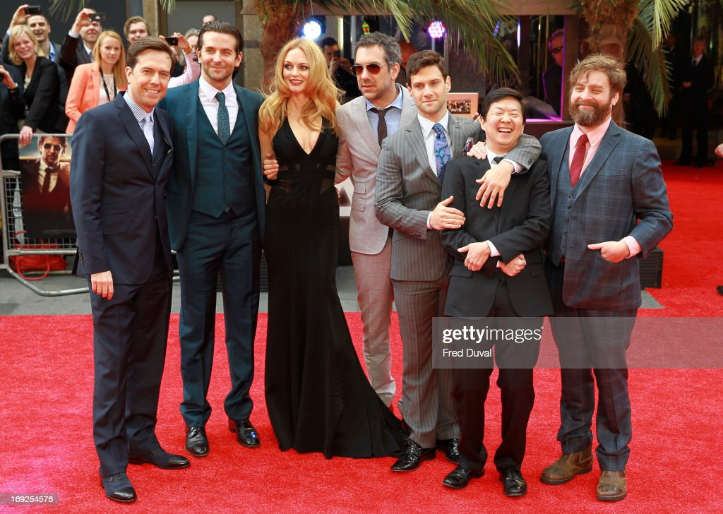 Ed Helms, Bradley Cooper, Heather Graham, Todd Phillips, Justin Bartha, Ken Jeong and Zach Galifianakis attend The Hangover III - UK film premiere at The Empire Cinema on May 22, 2013 in London, England.