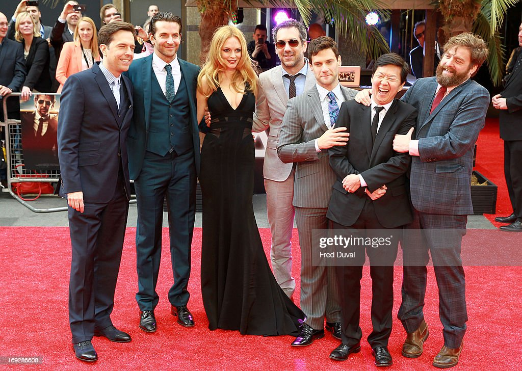 Ed Helms, Bradley Cooper, Heather Graham, Todd Phillips, Justin Bartha, Ken Jeong and Zach Galifianakis attend 'The Hangover III' - UK film premiere at The Empire Cinema on May 22, 2013 in London, England.