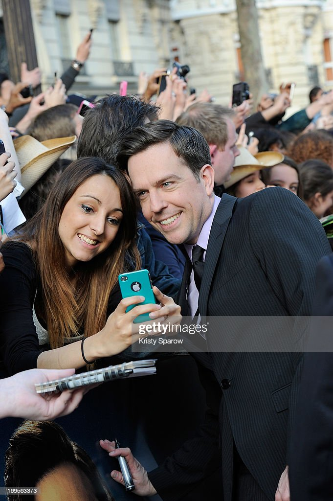 <a gi-track='captionPersonalityLinkClicked' href=/galleries/search?phrase=Ed+Helms&family=editorial&specificpeople=662337 ng-click='$event.stopPropagation()'>Ed Helms</a> poses with fans while attending the 'Hangover - Very Bad Trip III' ('The Hangover Part III') Paris premiere at Cinema UGC Normandie on May 27, 2013 in Paris, France.