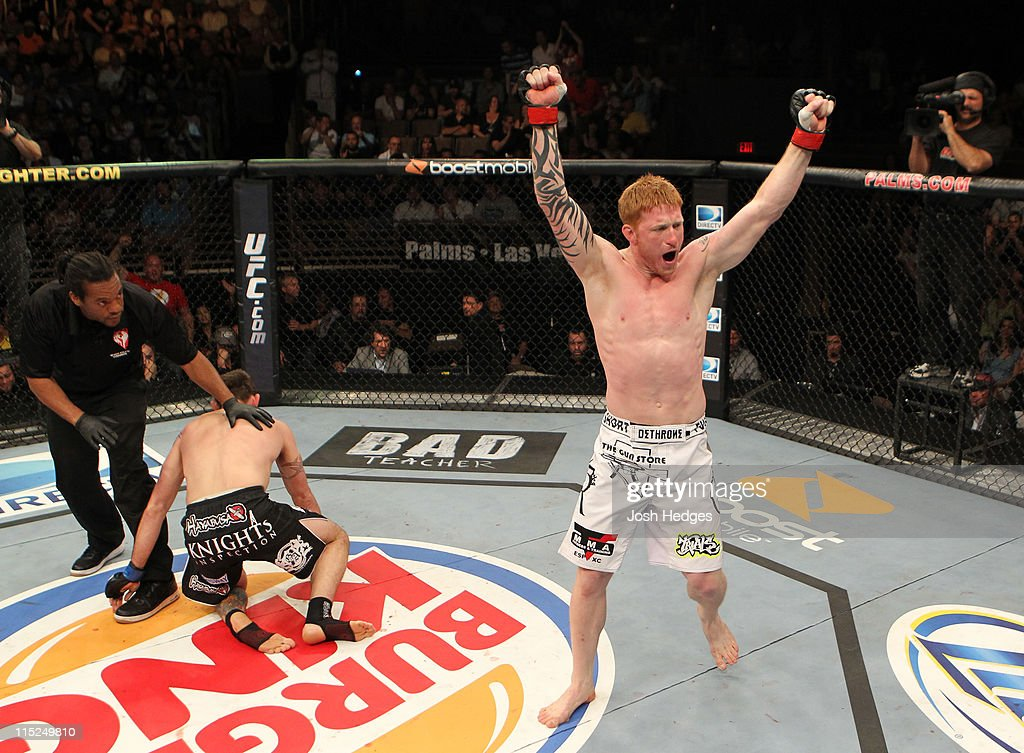 Ed Herman celebrates after knocking out Tim Credeur during their middleweight fight at the Ultimate Fighter Season 13 Finale at the Pearl at the Palms on June 4, 2011 in Las Vegas, Nevada.