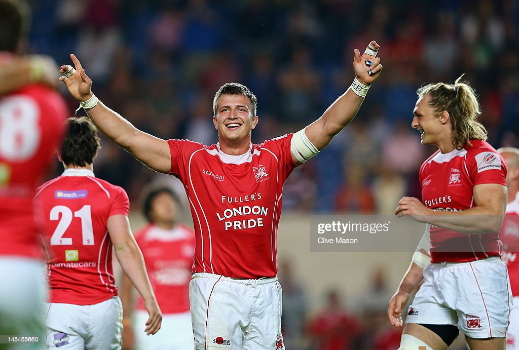 Ed Jackson of London Welsh celebrates as the final whistle blows during the RFU Championship Playoff 2nd leg match between London Welsh and Cornish...