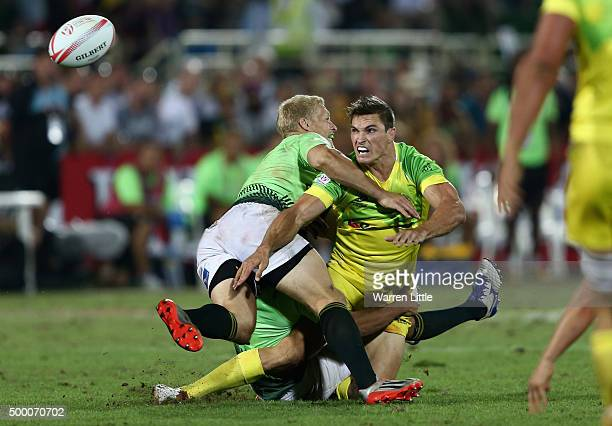 Ed Jenkins of Australia in action against South Africa in the Plate Final during the Emirates Dubai Rugby Sevens HSBC World Rugby Sevens Series at...