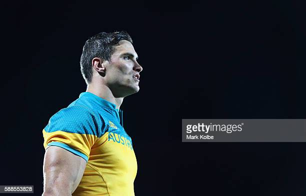 Ed Jenkins of Australia looks on after the Men's Rugby Sevens placing 78 match between France and Australia on Day 6 of the Rio 2016 Olympics at...