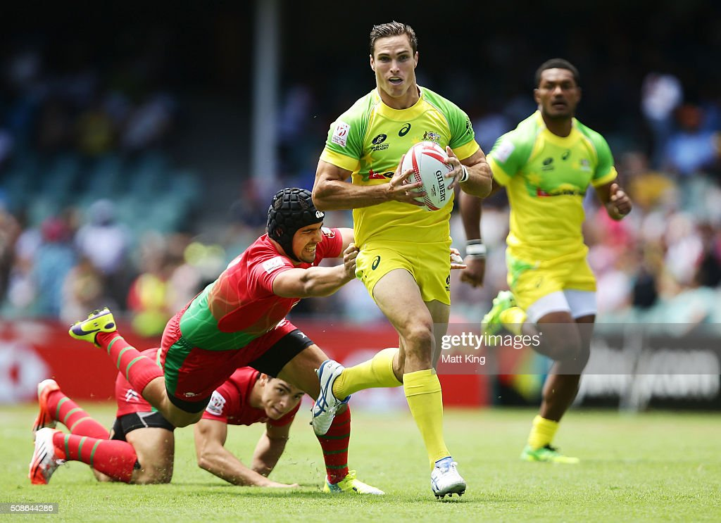 <a gi-track='captionPersonalityLinkClicked' href=/galleries/search?phrase=Ed+Jenkins+-+Rugby+Player&family=editorial&specificpeople=14322294 ng-click='$event.stopPropagation()'>Ed Jenkins</a> of Australia makes a break during the 20146 Sydney Sevens match between Australia and Portugal at Allianz Stadium on February 6, 2016 in Sydney, Australia.