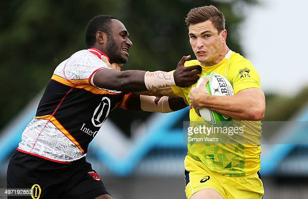 Ed Jenkins of Australia makes a break during the World Sevens Oceania Olympic Qualification SemiFinal match between Australia and Papua New Guinea on...