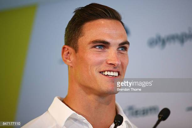 Ed Jenkins of the Australian Men's Sevens Rugby Team speaks to the media during the Australian Olympic Games rugby sevens team announcement at Museum...