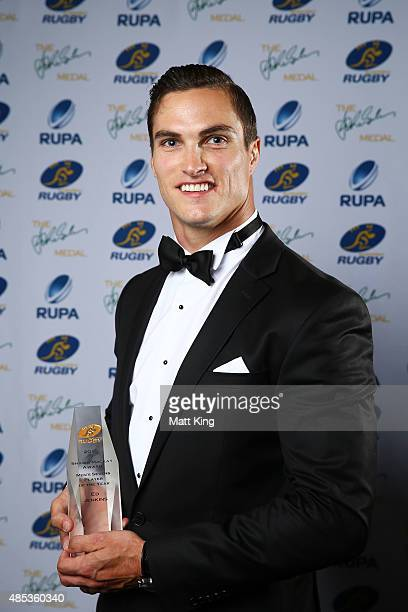 Ed Jenkins poses with the Men's Sevens Player of the Year Award during the John Eales Medal at Royal Randwick Racecourse on August 27 2015 in Sydney...