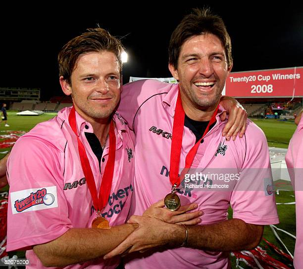Ed Joyce and Tyrone Henderson of Middlesex celebrate victory after Middlesex win the Twenty20 Cup Final between Kent and Middlesex at The Rosebowl on...