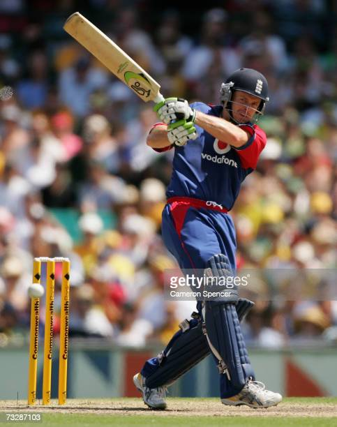 Ed Joyce of England bats during the Commonwealth Bank One Day International Series second final match between Australia and England at the Sydney...