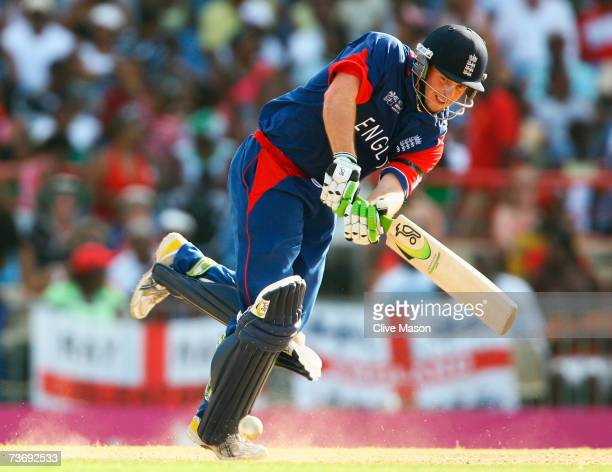 Ed Joyce of England hits out during the ICC Cricket World Cup Group C match between England and Kenya at the Beausejour Cricket Ground on March 24...