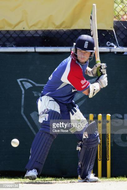 Ed Joyce of England practices during a nets session prior to the Commonwealth Bank One Day International Series match between England and New Zealand...