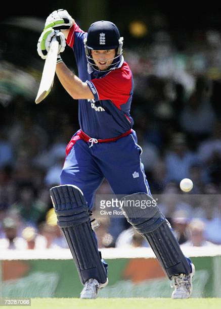 Ed Joyce of England sqaure drives during the Commonwealth Bank One Day International Series second final match between Australia and England at the...