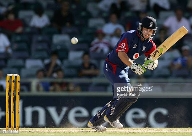 Ed Joyce of England works the ball to mid wicket during game nine of the Commonwealth Bank One Day International Series between England and New...