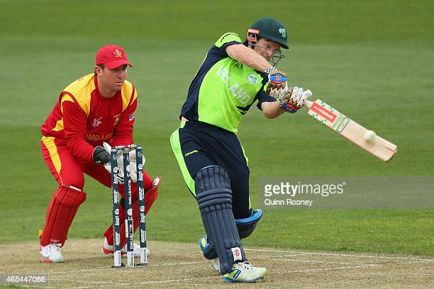 Ed Joyce of Ireland bats during the 2015 ICC Cricket World Cup match between Zimbabwe and Ireland at Bellerive Oval on March 7 2015 in Hobart...